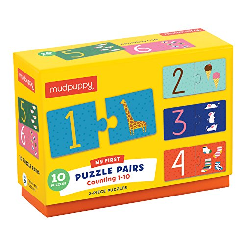 Mudpuppy Counting 1-10 My First Puzzle Pairs – Great for Kids Age 2+ - Includes 10 Sturdy 2-Piece Puzzles – Teaches Problem-Solving, Basic Math, Fine Motor Skills, 9780735349421
