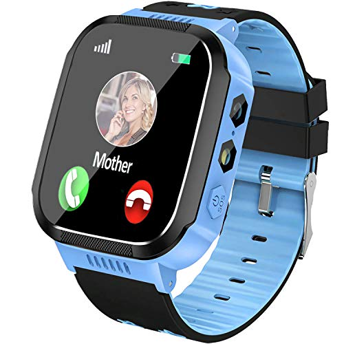 Smart Watch for Kids Boys Girls - GPS Tracker Smartwatch Digital Wrist Phone Watch with Full Touch SOS Calls Alarm Clock for Kids Holiday Toys Birthday Gifts (Blue)