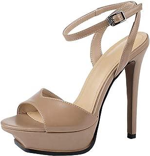 BeiaMina Women Elegant High Heel Sandals Peep Toe Party Shoes