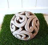 DEKO Kugel Keramik Dekokugel ca. 17cm grau-braun Gartendeko Beetdeko Pflanzdeko Windlicht Shabby rustikal Vintage Ornament Garten Tischdeko Frühling Sommer - 6