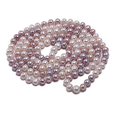 JYX - Collana lunga con perle d'acqua dolce da 8 a 9 mm, stile classico, multicolore