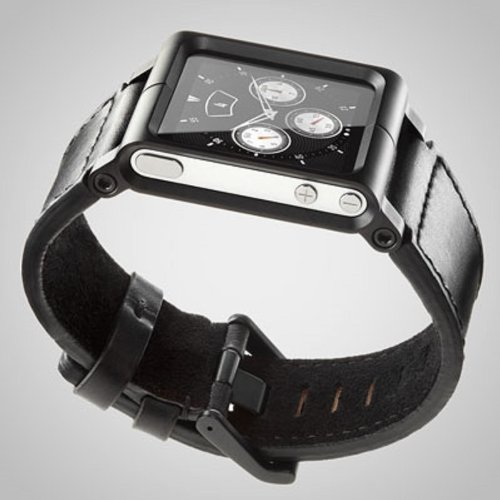 Minimal LLBLK-017 Chicago Collection LunaTik Lederarmband für Apple iPod Nano 6G schwarz
