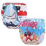 Storeofbaby Pañales reutilizables pañales de bebé natación Dibujos animados lavables pañales ajustables 0-3 años