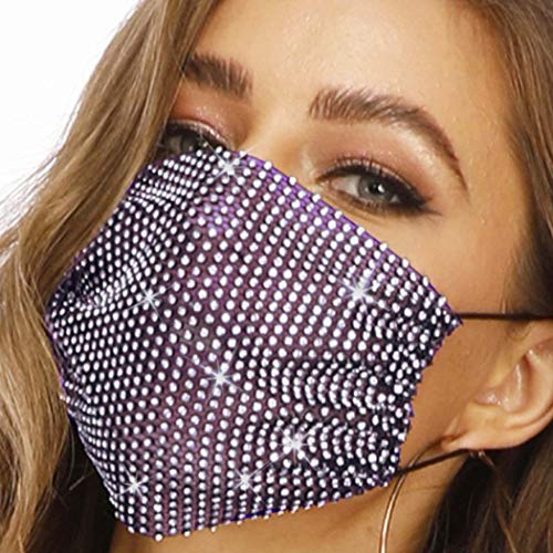 Barode Sparkly Rhinestones Mesh Mask Crystal Purple Masquerade Party Nightclub Face Masks Jewelry for Women and Girls (Purple)