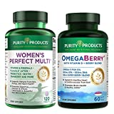 Women's Perfect Multi + OmegaBerry Fish Oil by Purity Products - Women's Multi (Supports Urinary Tract Health, Immune, Bone, Hair, Skin, Nails + More) - OmegaBerry (1250mg Omega-3, Vitamin D3 + More)