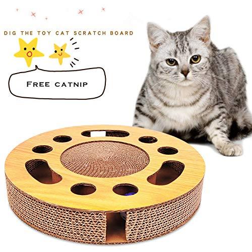Wuudi - Rascador redondo para gatos con bola y menta para gatos, de cartón ondulado resistente a los arañazos, resistente al desgaste y a los arañazos