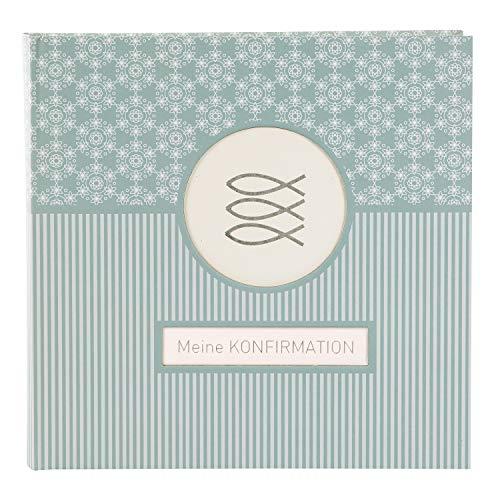 goldbuch Fotoalbum für die Konfirmation, Mandala, 25x25 cm, 60 weiße Seiten, 4 Seiten Textvorspann, Kunstdruck, Weiß/Türkis, 03 143