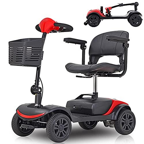 Scooter De Movilidad De 4 Ruedas para Adultos Mayores Discapacitados, Scooter De Movilidad Eléctrico Plegable con Timón Y Cesta Plegables, Scooter De Viaje Portátil, Batería De 12 Ah