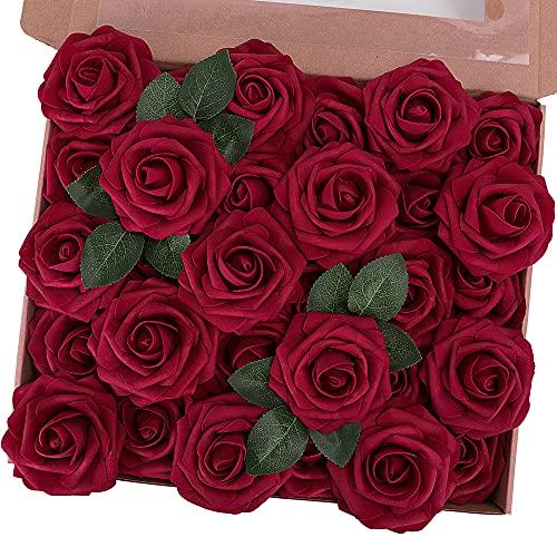 N&T NIETING Künstliche Rosen, 30 Stück echte Schaumstoff-Rosen, DIY Blumensträuße für Hochzeit, Party, Valentinstag, Muttertag, Babyparty, Heimdekoration, Dunkelrot
