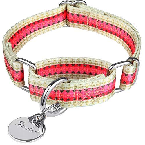 Dazzber Martingal Halsbänder für Hunde, Einstellbar-Heavy Duty- Weiche-Glatte-Leichtes Gehen Sie den Hund für Große/Klein Hunde (Mittlere, 2.5cm Breit, Süßigkeits-Rosa)