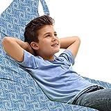 ABAKUHAUS Mosaico Bolsa para Juguetes Tipo Tumbona, Forma simétrica interwined, Organizador de Peluches Gran Capacidad con Manija, Ceil azul y blanco