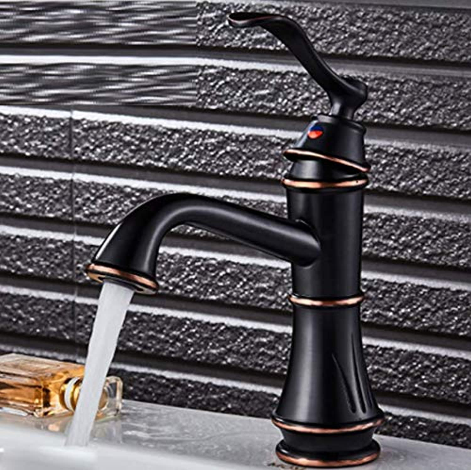 Bathroom Faucet ?European and American Style Black Faucet Hot and Cold Washbasin Faucet Copper Basin Wash Basin Bathroom Single Hole Faucet