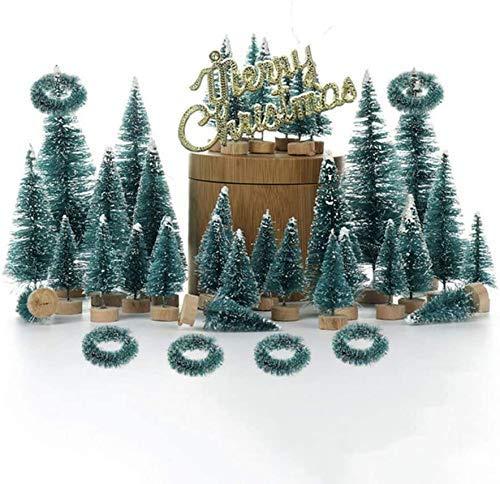 55st simulering blå och grön liten tall julgran skrivbordsdekorationsuppsättning (köp enligt bilden, en uppsättning med ett paket, kontakta leverantören för beställning)