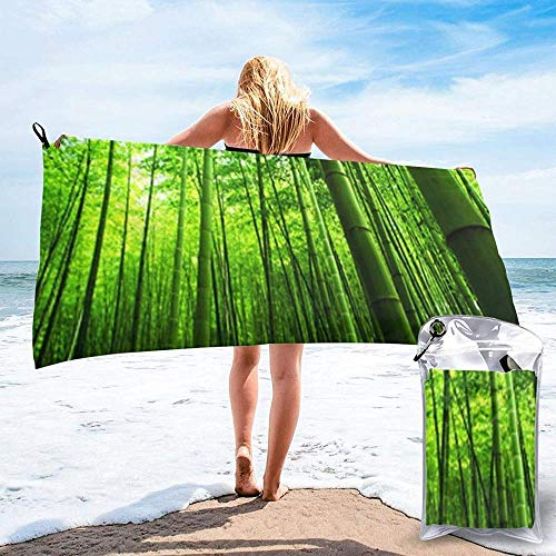 Quick Dry Beach Towel Green Bamboo Forest Printed Microfiber Lightweight Bath Towels Suitable For Household Children And Adults Camping Swimming Yoga-31.5'X63'