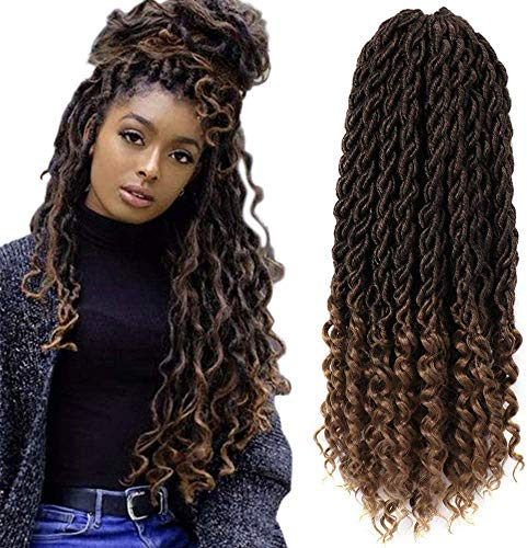 7Pack Faux Goddess Locs Crochet Hair extensions, Synthetic Xpressions Braiding Hair, Deep wave fiber Hair with Curly Ends (20inch, T1B/27#)