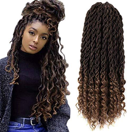 7Pack Faux Goddess Locken Crochet Extensions, synthetisch Xpressions Haar zum Flechten, Deep wave fiber Haare mit gelockten Enden (20 Zoll, T1B/27#)