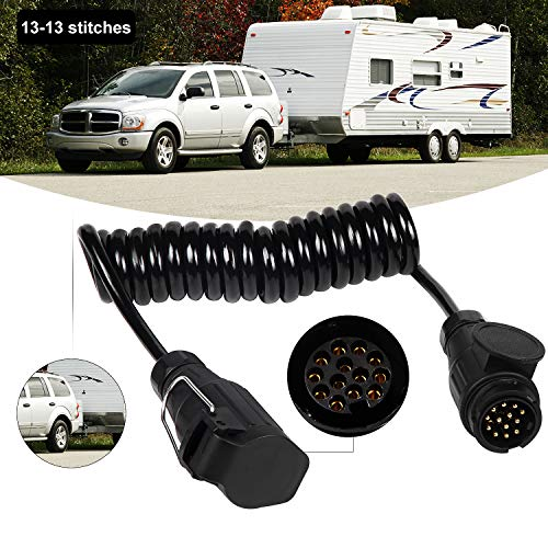 EXLECO Cableado del Remolque 13-13 Pin Cable de extensión Remolque 3M Conectores de la Caravana para Automóviles Enchufe del Remolque con Cable de Resorte