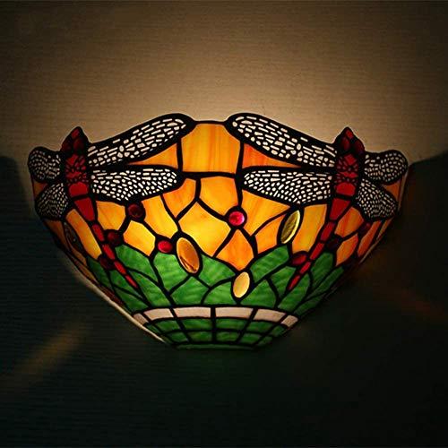 ZDHG Retro Tiffany wandlamp E14 lamp, glas in lood klassieke Europese stijl, gebruikt voor slaapkamer, eetkamer, woonkamer, lobby, eetkamer, gang, nieuwe huisdecoratie