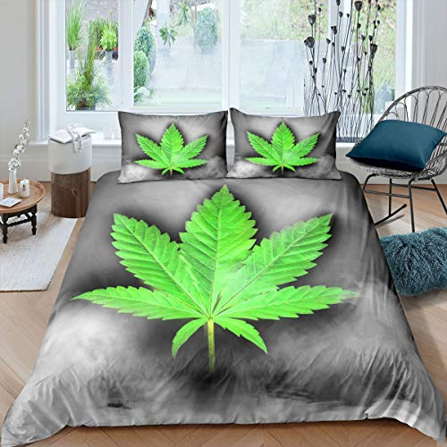 Homewish Juego de funda de edredón con hojas de cannabis, tamaño doble, diseño gótico, color verde, a la moda