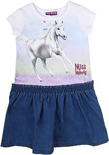Miss Melody niñas Vestido, Blanco, Azul