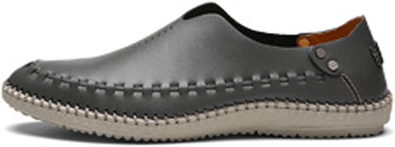 Z.L.F Herren echtes Leder Schuhe Mode Klassische Slipper Loafers atmungsaktiv Perforation gefüttert Oxfords Schuhe (Farbe   Grau, Gre   8MUS)