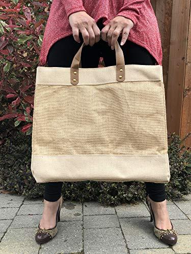 Luxuriöse Jutetasche mit Ledergriff, große Einkaufstasche, Strandtasche mit Personalisierung oder einfarbig (einfarbig)