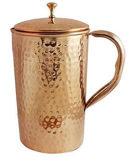 SKAVIJ reines Kupfer Wasserkrug gehämmert Stil Trinken Krug (1,6 Liter)