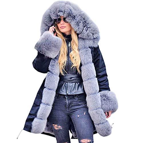 Fenverk Damen Winter Mantel Steppmantel Moonshine Warme Jacke Lang Teddyfell Winterjacke Baumwolle Parka Abnehmbare Fellkapuze S-4XL(B Grau,XL)