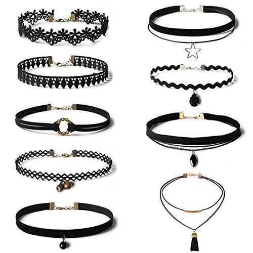 Butterme 9 Stück Velvet Choker Ketten Set Schwarze Gothic Stretch Tattoo-Hals elastische Spitze Samt PU-Troddel-hängende Halsketten für Frauen Mädchen