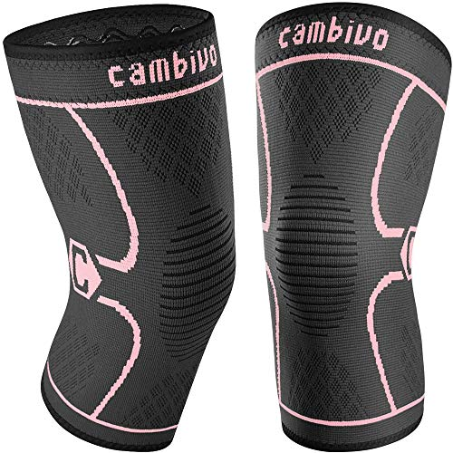 CAMBIVO 2 Pack Knee Brace, Knee Compression Sleeve for Men and Women, Knee Support for Running, Workout, Gym, Hiking, Sports (Pink,Medium)