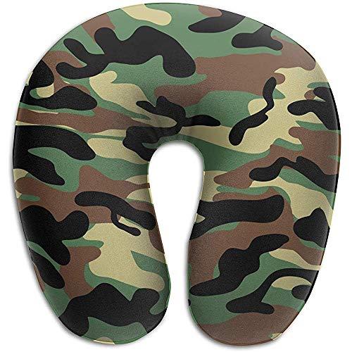 U-Förmiges Nackenhörnchen,Dunkelbraunes U-Förmiges Camouflage-Kissen Dekoratives Dekokissen Zum Laufen, Klettern, Reisen
