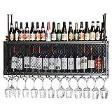 XJZKA Estante para vinos, Bar, Restaurante, Colgante, Estante para Copas de Vino, Rejilla para Almacenamiento en el Techo, Soporte para Botellas de Vino y Vasos para Colgar, Soporte para