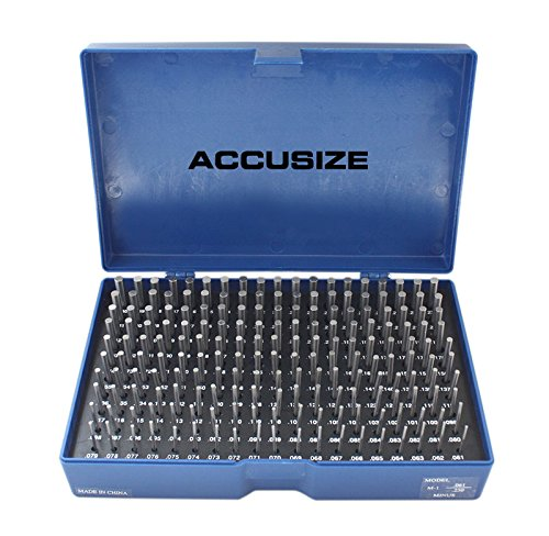Accusize Industrial Tools 0.061'' to 0.250'' Minus Class Zz Pin Gauge Set, 2'' Overall Length, 190 Pcs/Set, M1(-)