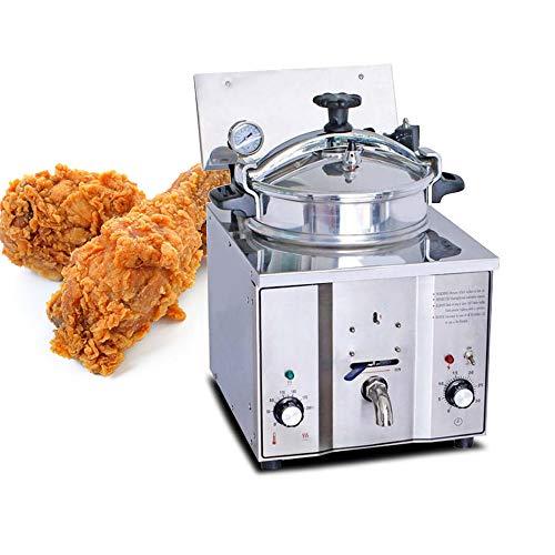 Friteuse à pression de comptoir électrique commerciale Genmine Friteuse à pression pour poulet 16L 2400W Friteuse à pression de comptoir électrique commerciale Cuiseur à friteuse en acier inoxydable Poisson avec minuterie et température