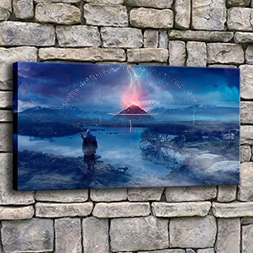 Cyalla Canvas Wall Art Foto's Home Decor 1 Stuk Witcher Schilderen Moderne Prenten Sterrenhemel Vuur Spel Poster voor Woonkamer Ingelijste-50X70Cm