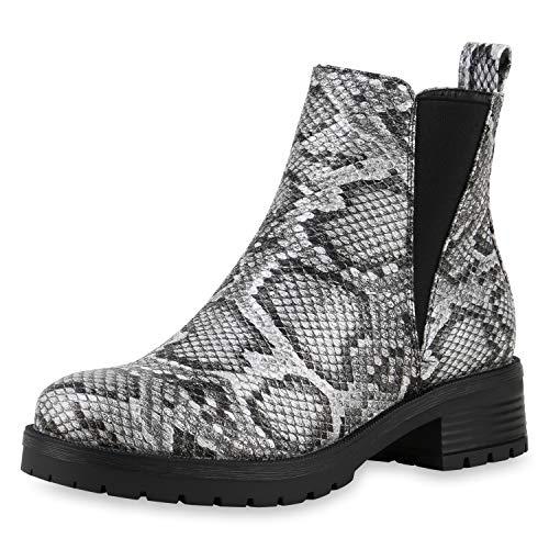 SCARPE VITA Damen Klassische Stiefeletten Leicht Gefütterte Snake Print Boots Leder-Optik Schuhe Profilsohle 185228 Schwarz Weiss Snake 37