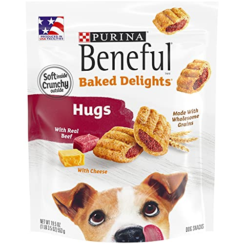 Purina Beneful Made in USA Facilities Dog Treats, Baked Delights Hugs With Real Beef & Cheese - 19.5 oz. Pouch