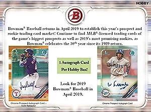 2019 Bowman Baseball Hobby Box (24 Packs/10 Cards: 1 Autograph)