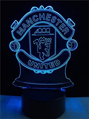 Manchester United lumière de nuit 3D simple/LED, 7 couleurs, lumières Touch Art Sculpture, chambre à coucher, bar, fête