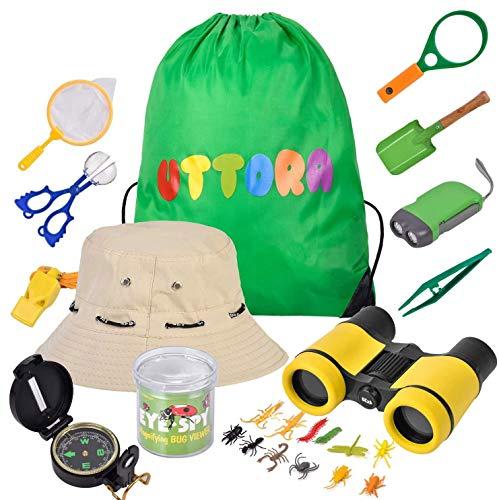 UTTORA Spielzeug für draußen 25 Stück,Draussen Forscherset Kinder fernglas, Taschenlampe, Kompass,Lupe, Schmetterlingsnetz,Mikroskop,3 4 5 6-12 Jahre Junge Spielzeug Geschenk
