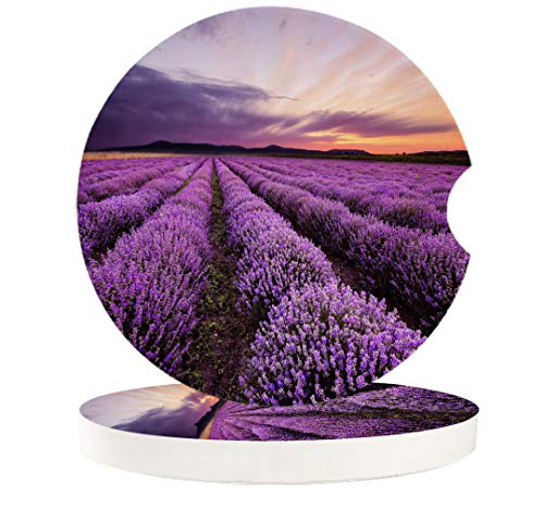 Car Drinks Coasters for Cup Holders Set of 2 Pack Lavender Sunset Sky Flower Absorbent Ceramic Stone for Auto Coasters, Car Accessories Easy Removal from Auto Cupholder