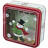 PRETYZOOM - Caja de metal para galletas, diseño navideño con ventana, caja de regalo