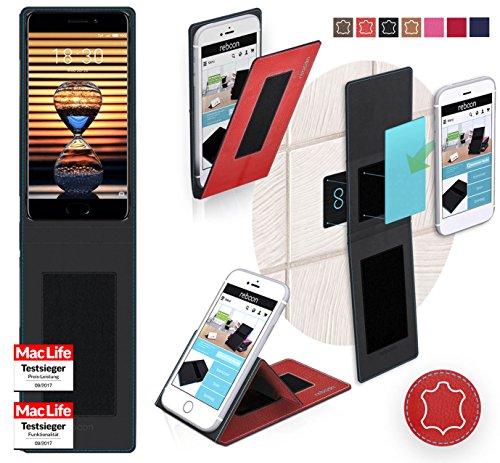 reboon Hülle für Meizu Pro 7 Plus Tasche Cover Case Bumper   Rot Leder   Testsieger