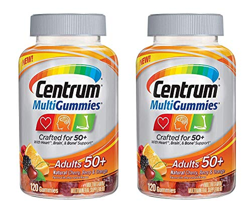 Centrum MultiGummies Adults 50+ Crafted for 50+ for Heart Brain and Bone Support MultiVitamin/MultiMineral in Natural Cherry Berry and Orange Flavor (120 Gummies) Pack of 2