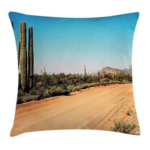 Saguaro - Funda de cojín con diseño de cactus gigantes, 45,7 x 45,7 cm, color marrón arena