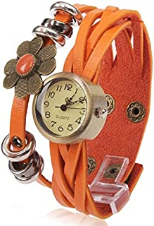 Songlin@yuan Fashion Floral Quartz Watch with PU Leather Strap for Bracelet use Fashion (Color : Orange)