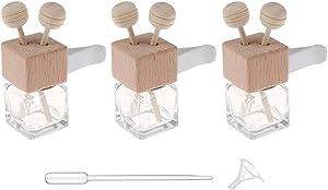 3 Pcs Car Air Freshener Vent Clip Essential Oil Diffuser Vent Clip Empty Glass Bottle With Clip Car Air Vent Fragrance Aromatherapy Scented Diffuser Bottle Auto Ornament Decors (Square)