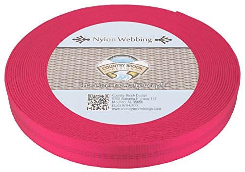 Country Brook Design 1 Inch Hot Pink Climbing Spec Tubular Nylon Webbing, 10