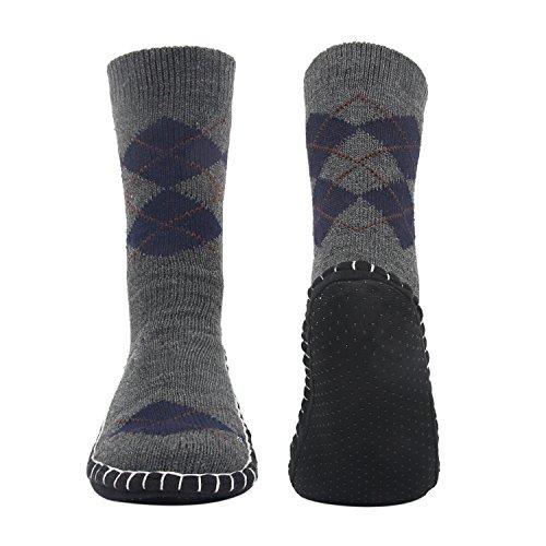 Vihir Men's Winter Knitted Non-Skid Home Warm Slipper Socks Indoor Floor Stocking House Shoes