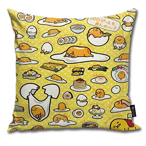 Gudetama Cushion Covers Home Decorative Throw Pillowcases for Livingroom Sofa Bedroom Car 18X18inch